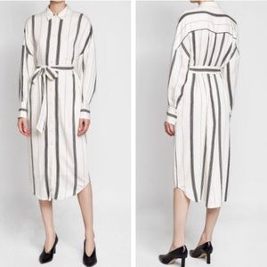 New✨Tibi Striped Belted Shirt Dress Black White